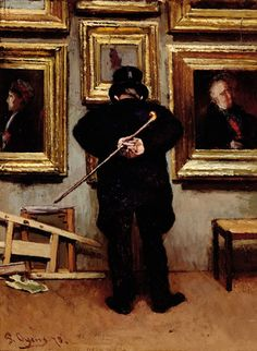 Pieter Oyens (Dutch painter) 1842 - 1894De Schilderijenliefhebber (An Amateur), 1873