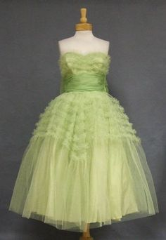 1950s sea green ruffled tulle and organdy prom dress