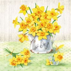 GBP - Daffodils Floral Spring 20 Paper Napkins Serviettes X - 33 X & Garden Decorative Paper Napkins, Paper Napkins For Decoupage, Decoupage Art, Photo Transfer, Cocktail Napkins, Rice Paper, Daffodils, Design Projects, Artsy