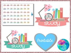 Study Desk Cuties printable stickers, planner stickers, study, school, student, college, cute, kawaii, Erin Condren
