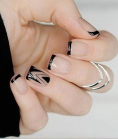 35 Splendid French Manicure Designs: Classic Nail Art Jazzed Up - Nails - Line Nail Designs, Acrylic Nail Designs, Acrylic Nails, Floral Designs, Clear Nail Designs, Simple Designs, French Nail Art, French Tip Nails, Black French Nails