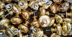 """Lot of 10 Brass Knob Drawer Cabinet Hardware Bright Golden 1.25"""" screw 1"""" used #Unbranded"""