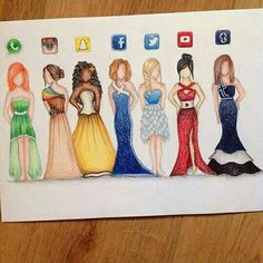 """""""Awesome social media dress artwork by the artist Amazing Drawings, Love Drawings, Beautiful Drawings, Amazing Art, Beautiful Images, Drawings Of Dresses, Drawings Of Girls, Dresses Art, App Drawings"""