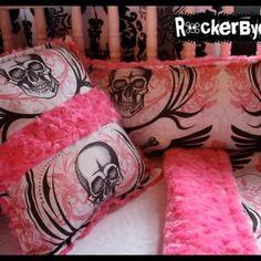 Pink Skull Crib Bedding