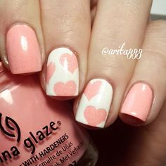 Pretty & pink manicure by @arita888 using our Large Heart Nail Decals found…