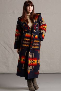 Shop for Pendleton® coats and jacket in Native American and Southwestern inspired designs. Find a great selection of coats, jackets and vests for women. Pendleton Fabric, Pendleton Jacket, Native American Fashion, Native Fashion, Long Wool Coat, Wool Coats, Chief Joseph, Coat Of Many Colors, Blanket Coat