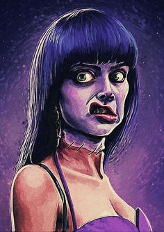 Frankenhooker - Art Print - frankenhooker, cult, film, movie, movies, science fiction, sci-fi, b-movie, trash, purple, comedy, humor, funny, horror, dark art, wall decor, wall art, home decor, decoration, decorative, blue, gothic, woman, monster, creature, zombie, patty mullen, frank henenlotter, halloween, classic, frankenstein, pop art, ugly, cute, hooker, 90s, 1990s, beauty, gift, gifts, portrait, illustration, scary, mad, crazy, scientist, doctor, for her, for him, christmas, xmas, bar…