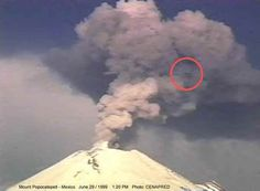 UFO sighted over erupting volcano.