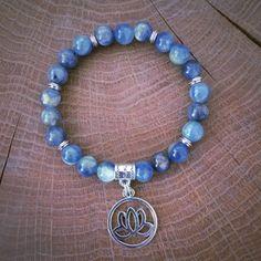 #Gemstone yoga #chakra alignment bracelet kyanite lotus flower blue #healing 167,  View more on the LINK: http://www.zeppy.io/product/gb/2/282169585919/