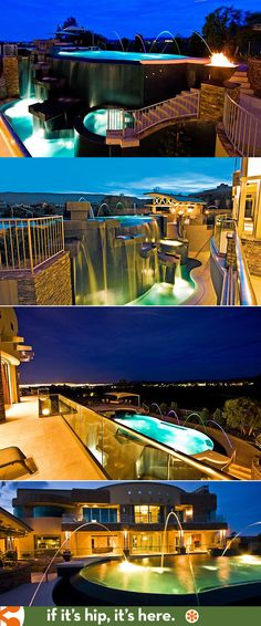The extraordinary two story waterfall private pool at 23 Golden Sunray Lane in Las Vegas