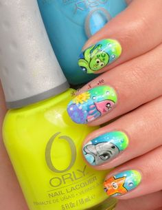 Aquatic Ombré Nail Art by BrilliantNail, via Flickr