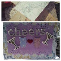 Wedding card and homemade envelope. Thanks Martha Stewart scoring board