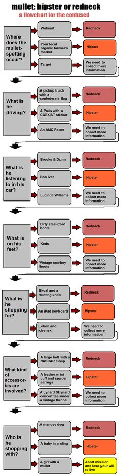 a simple flow-chart for non-hipsters to determined whether a man with a mullet is a hipster or a redneck