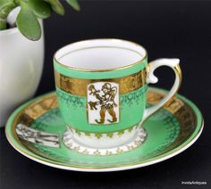 Vintage Real S Paulo Brazil China Demi Green Gold Jester Tea Cup & Saucer Set