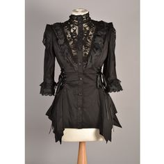 Black Steampunk Shirt With Lace | Steampunk Clothing