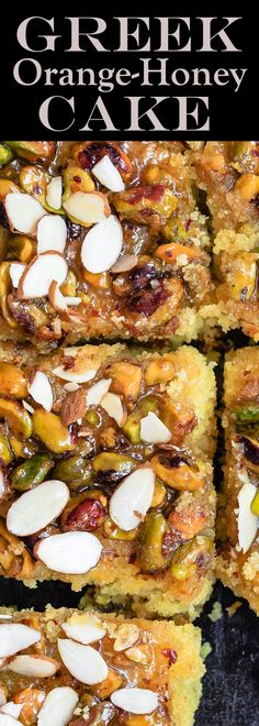 Greek Orange Honey Cake | The Mediterranean Dish. This super simple Greek cake is made with olive oil and Greek yogurt, and perfectly flavored with lots of citrus. Topped with toasted pistachios and a luscious honey syrup. A foolproof honey cake that can feed a crowd!