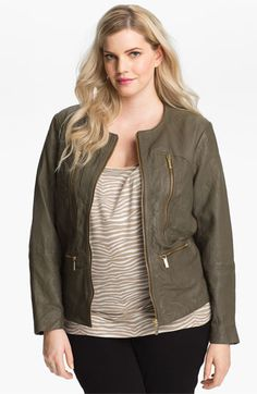 MICHAEL Michael Kors Leather Jacket (Plus) available at #Nordstrom