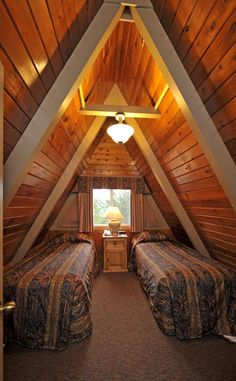 Upstairs bedroom - A Frame Chalet Hut House, Tiny House Cabin, Cabin Homes, Cottage Homes, A Frame House Plans, A Frame Cabin, Bungalow, Triangle House, House Construction Plan