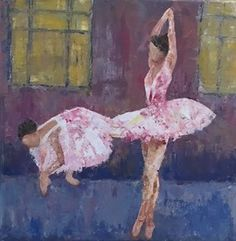 Sweet ballerinas in pink tutus on pointe done with an impressionistic touch by artist Kathleen LeRoy in Boulder, Colorado Pink Tutu, Artist Painting, Impressionist, Canvas, Artwork, Tela, Work Of Art, Auguste Rodin Artwork, Impressionism