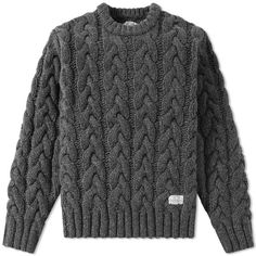 Buy the Neighborhood Fisherman Cable Knit in Charcoal from leading mens fashion retailer END. Hand Knitted Sweaters, Boys Sweaters, Sweater Knitting Patterns, Sweater Shop, Cable Knit Sweaters, Men Sweater, Pull Torsadé, Cool Outfits For Men, Designer Clothes For Men
