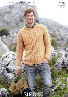 Mens Knit Patterns King Cole Mens Sweater And Cardigan Knitting Pattern Mens Knit Patterns 7146 Sirdar Click Chunky Mens Sweater Knitting Pattern To Fit Chest 38 To Mens Knit Patterns Mens Pullover Knitting Pattern. Sirdar Knitting Patterns, Jumper Knitting Pattern, Jumper Patterns, Knit Patterns, Mens Knit Sweater, Hand Knitted Sweaters, Cable Sweater, Mens Pullover, Cable Knit