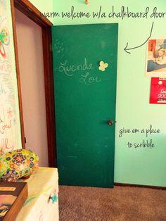 DIY Eclectic Child's Bedroom ~ chalk paint door, change out knobs