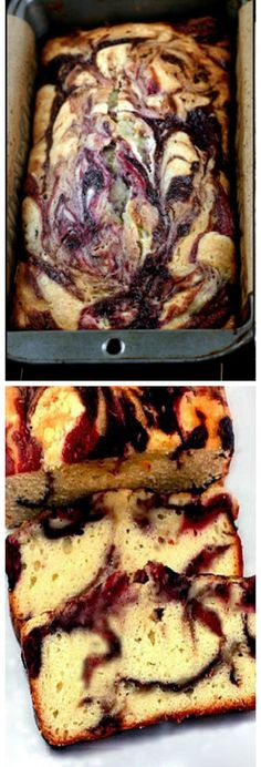 Double Berry Swirl Greek Yogurt Cake - Incredibly moist, with ribbons of blackberry and raspberry puree throughout!