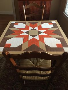 Just finished game table with Badlands barn quilt pattern Barn Quilt Designs, Barn Quilt Patterns, Quilting Designs, Farmhouse Quilts, Painted Barn Quilts, Barn Signs, Wooden Barn, Barn Art, Square Quilt
