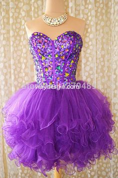 Sweetheart Purple Pink Organza Beaded Short Mini Sexy 2015 Custom Bridal Party Homecoming Bridesmaid Prom dresses Ball Gown