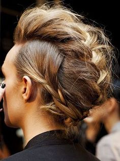 How To Recreate One of the Coolest braided faux hawk Hairstyles on Pinterest | allure.com