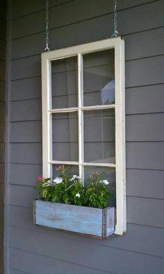 ON SALE Wood window flower box - window frames - antique wood windows - 6 pane wood window pane - wood flower box ideas - wood window ideas Home And Garden, Outdoor Decor, Wood Windows, Window Box Flowers, Front Yard, Wooden Flowers, Window Projects