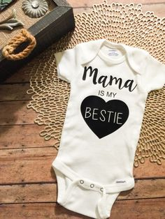 Cute baby girl onesies clothes - Mama is my BESTIE - $13.99 - Check out OneCraftyChique on Etsy!