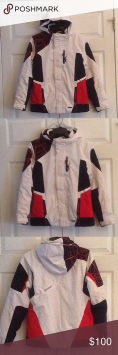 SPYDER ski/snowboard jacket Size 16 SPYDER ski/snowboard jacket. Size 16. Unisex. Cool spider with web design.  Full front zipper with Velcro closure. Removable hood. 2 zip pockets at waist and zip pocket with ski mask/goggle cleaner cloth at chest. 2 inside pockets. Knit cuffs with thumb hole inside of sleeves. Adjustable Velcro closures at wrists. Excellent condition. Spyder Jackets & Coats