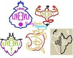 Descendientes Logo Pack 5 diseños bordados por MonkeyDoodleDigi