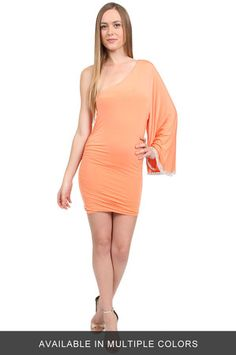 The One Shoulder Drape Sleeve Dress by Savee Couture at CoutureCandy.com