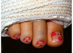 my lovely niece had foot surgery and was feeling blue about her toes and bandages...so i painted them like PIGGIES!!! so cute :) by christinauribe