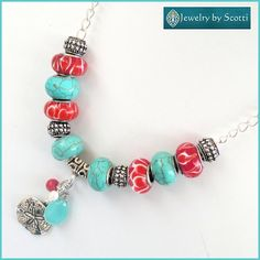 Turquoise Red Silver Charm Necklace Sand Dollar Jewelry
