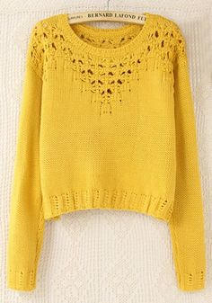 Yellow Plain Hollow-out Round Neck Wool Blend Sweater