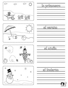 Printable worksheet on the seasons in Spanish with pictures to color