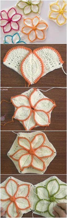 Crochet Hexagon 3D Flower Step By Step