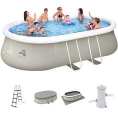 Bâche de protection grise 7,74x3,8m pour piscine rectangulaire hors sol 7,3x3,6