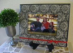Jazz up cheap frame with scrapbook paper and modpodge