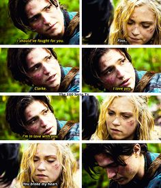 The 100 - Clarke  Finn #1.12...ya fracked up dude. Move. Get out the way. Bellamy/Clarke is take'n over. <- omg so glad I'm not the only one!