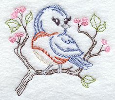 antique embroidery patterns library | Machine Embroidery Designs at Embroidery Library! - Bluebird (Vintage)