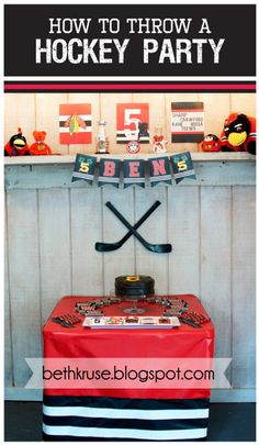 Hockey Party Custom Name and Age banner by Beth Kruse Custom Creations A fun and creative accessory perfect for any hockey fans birthday party! Hockey Birthday Parties, Hockey Party, Skate Party, 10th Birthday, Birthday Ideas, Hockey Birthday Cake, Kid Parties, Happy Birthday Printable, Happy Birthday Banners