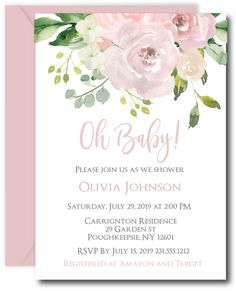 Oh Baby Shower Invitation #invitations #baby #floral
