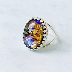 Eclectic Eccentricity Vintage Glass Topaz Opal Ring ($25) ❤ liked on Polyvore featuring jewelry, rings, glass jewelry, topaz ring, vintage opal ring, vintage jewellery and vintage jewelry