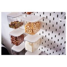 IKEA SKÅDIS container with lid Good for storing and organising spices, screws or craft supplies. Kitchen Supplies, Craft Supplies, Kitchen Ideas, Pantry Ideas, Ikea Skadis, Tapas, Ikea Pantry, Bathroom Jars, Student Room