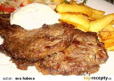 Roštěnky v marinádě recept - TopRecepty.cz Steak, Pork, Food And Drink, Kale Stir Fry, Steaks, Pork Chops
