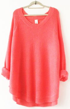 Watermelon+Red+Long+Sleeve+Loose+Sweater+US$32.50